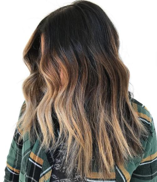 Partial Strawberry Blonde Balayage For Brunettes