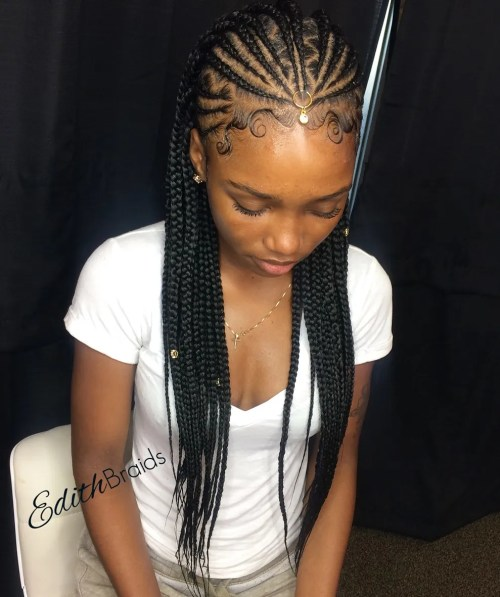 One-Point Fulani Braids with Zigzag Parts