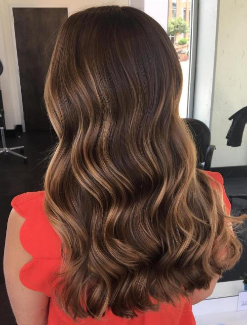 Dark Hair with Subtle Caramel Balayage