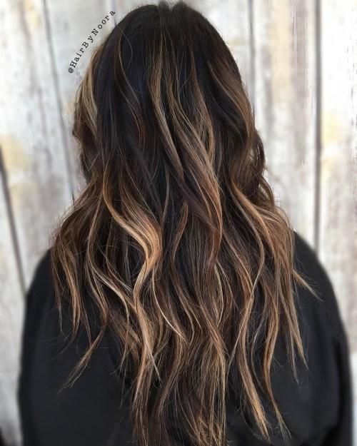 Black Shag wWith Bronde Balayage Long Hair
