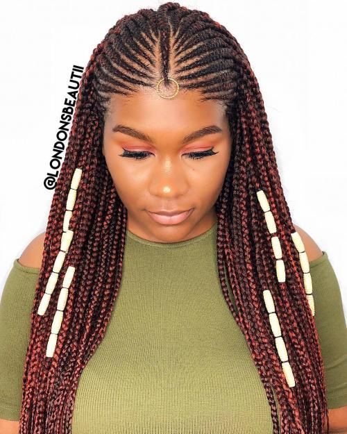 Reddish Fulani Braids with Bead Accents