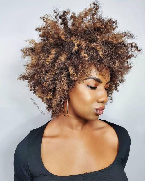 Natural Hair with Highlights