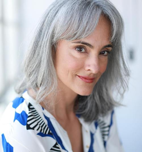 Natural Gray Shoulder Length Hairstyle