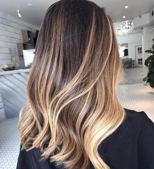 Caramel Blonde Balayage For Dark Hair
