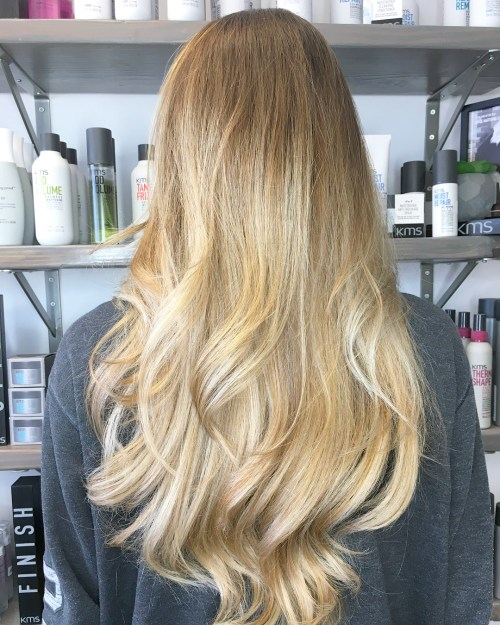 Long Bronde Ombre Hair with Layers