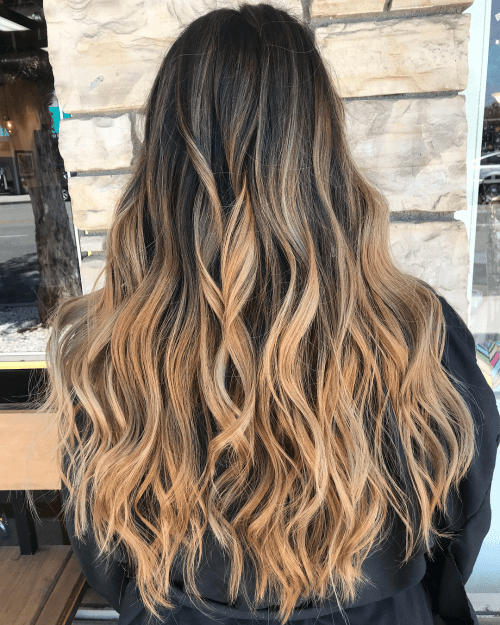 Long Wavy Caramel Balayage Hair