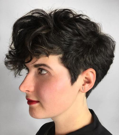 Short Pixie with Long Curly Bangs