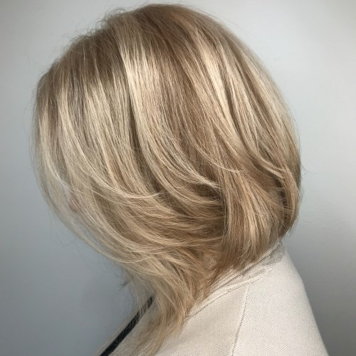 Inverted Bronde Balayage Bob with Layers