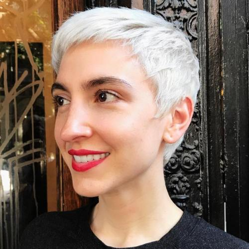 White Blonde Razored Haircut with Piecey Layers