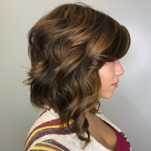 Curly Golden Brown Bob with Side Bangs