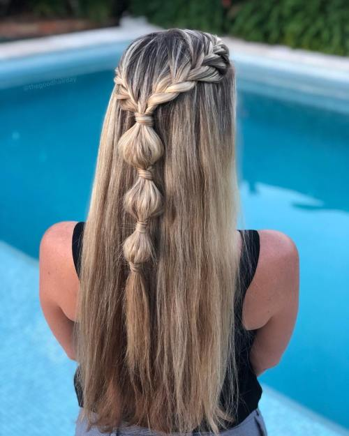 French Braids and Bubble Braid Half Up Style