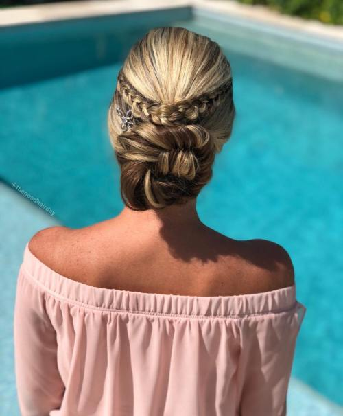 Braided Low Bun for Party