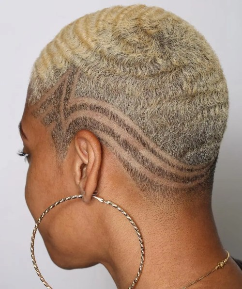Very Short Blonde Cut with Waves