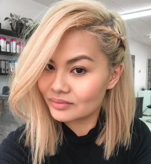 Blonde Lob With Side Braid