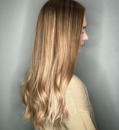 Long Blonde Waves with Hair Glaze