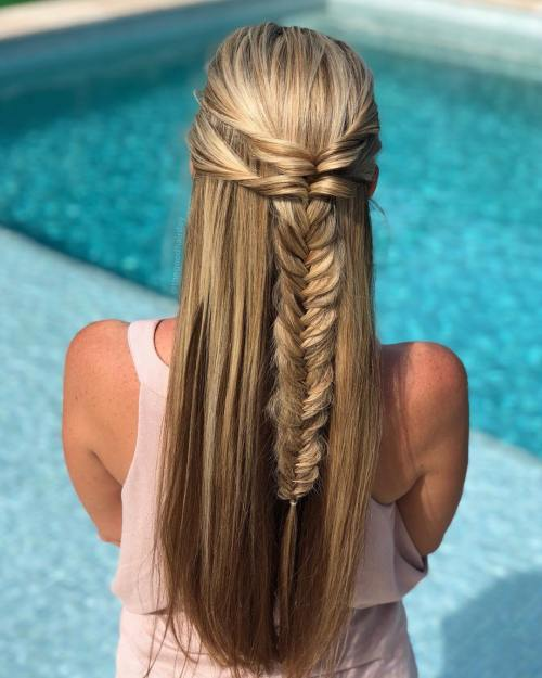 Half Up Fishtail Braid for Party