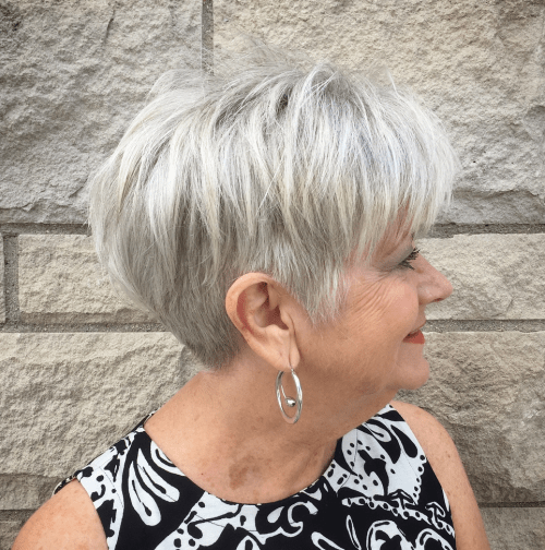 Gray Undercut Pixie Over 60