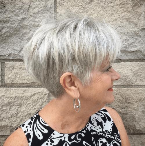 Gray Undercut Pixie Over 60