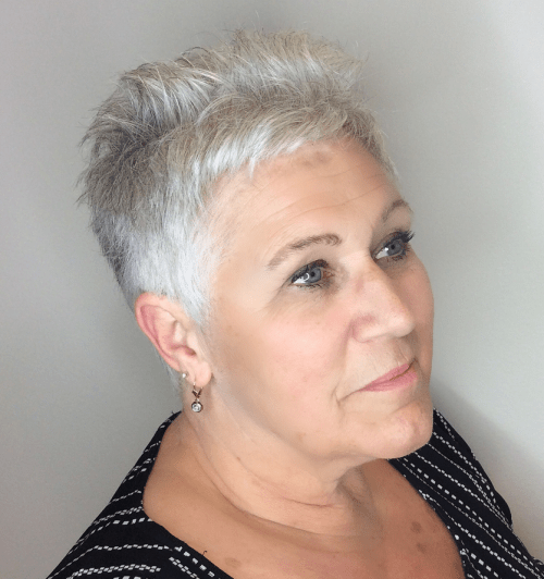 60+ Women's Very Short Gray Haircut