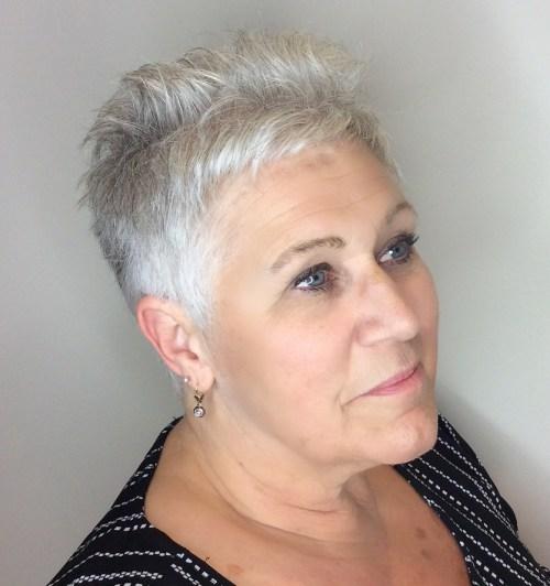 60+ Women's Very Short Gray Haircut