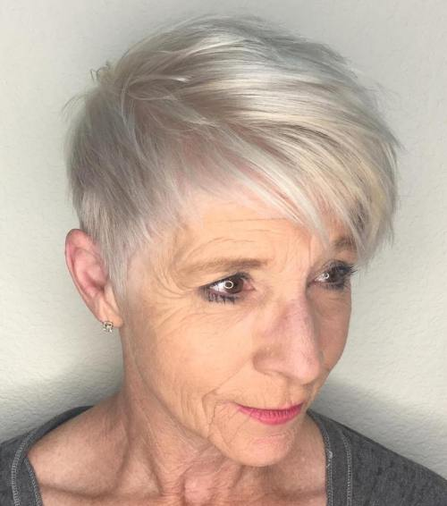 Short Platinum Pixie Over 60