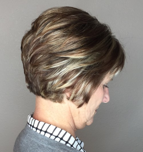 Layered Pixie Bob for Older Women
