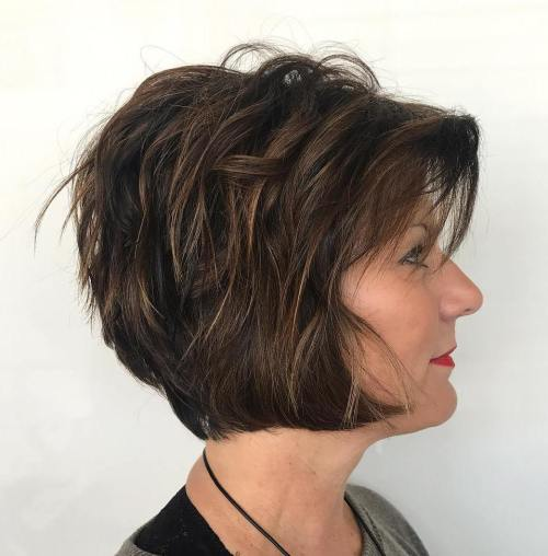 Layered Jaw-Length Bob over 50
