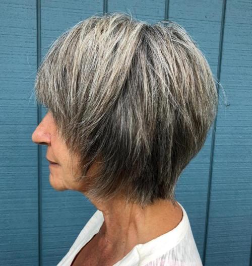 Choppy Bob For Women With Gray Hair