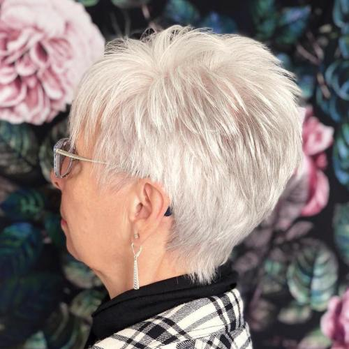 Short White Spiky Haircut for Older Women