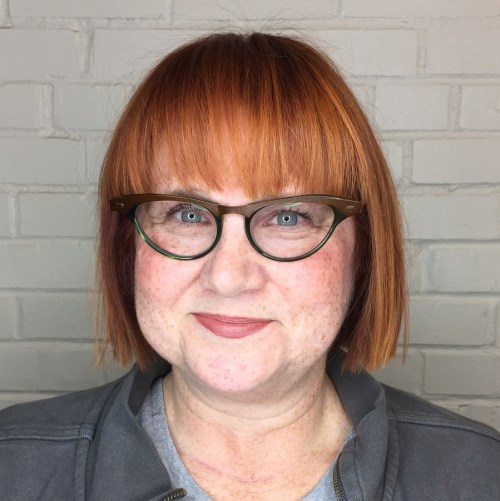 60+ Short Red Bob with a Fringe
