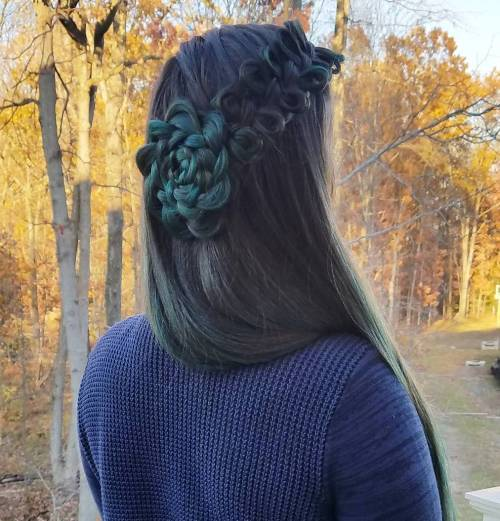 French Bow Braid Ended With A Flower Braid
