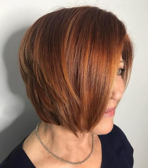 Jaw-Length Red Peek-A-Boo Bob Hairstyle