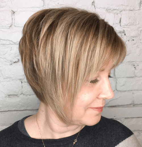 Long Caramel Blonde Pixie over 50