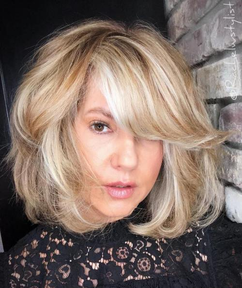 Medium Honey Blonde Hairstyle with White Highlights