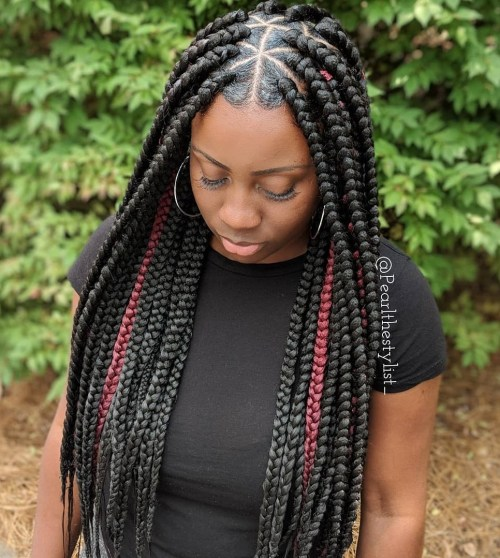 Black And Burgundy Triangle Braids