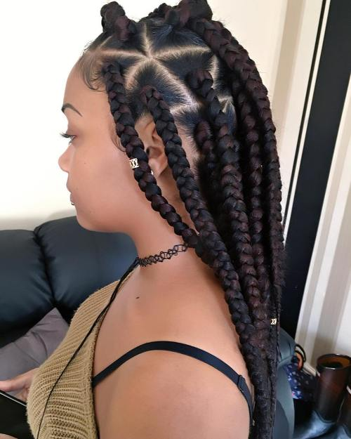 Black And Chocolate Triangle Braids