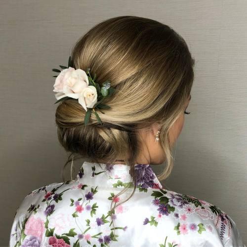 Chignon Bun With Roses
