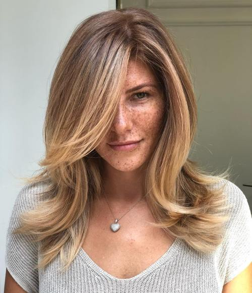 Straight Brown Hair with Golden Blonde Highlights