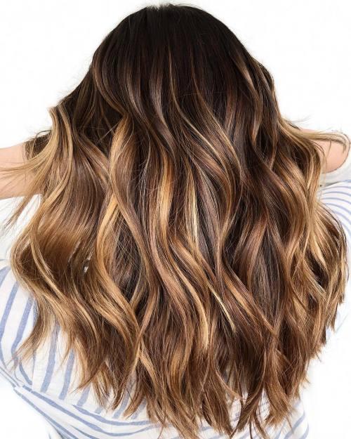 Long Dark Hair with Honey Blonde Highlights