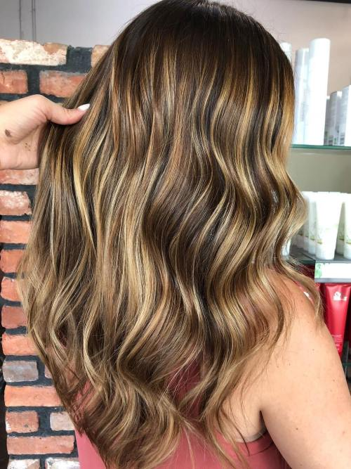 Wavy Golden Blonde Balayage Hair