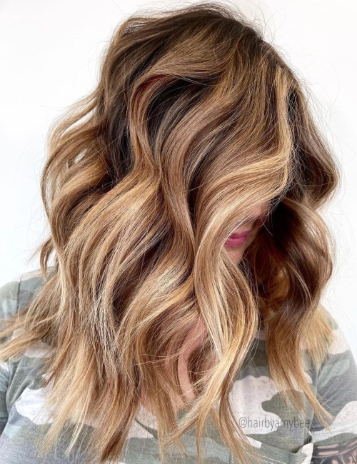 Brunette Balayage with Brown and Blonde Tones