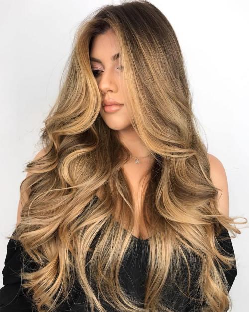 Long Curly Honey Blonde Hair