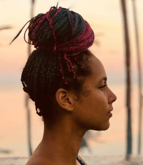 Alicia Keys Braided Top Knot