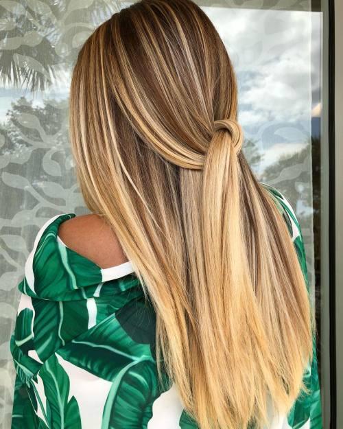Long Straight Golden Honey Blonde Balayage