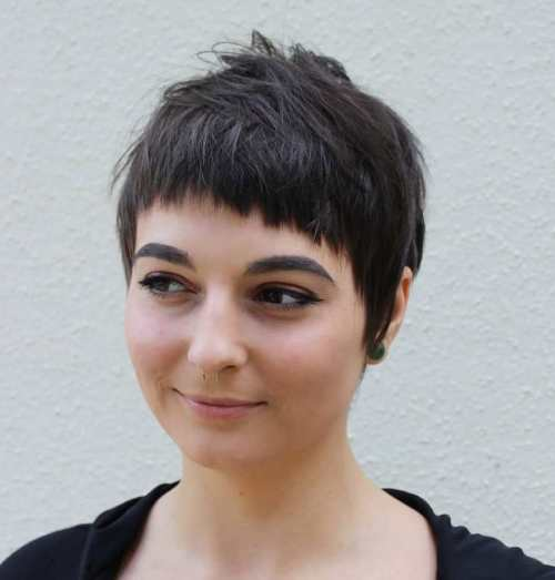 Pixie With Baby Bangs For Round Face