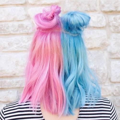 Pink And Blue Split Hair