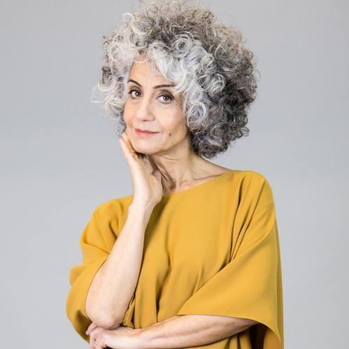 Curly Bob for Natural Gray Hair