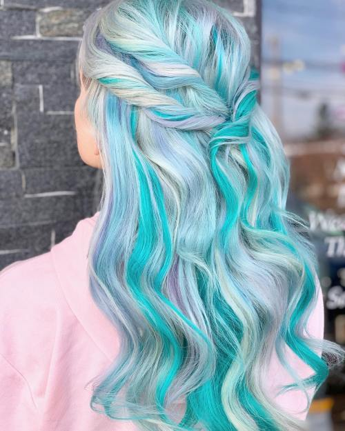 Half Updo With Teal Streaks