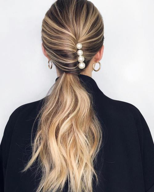 Half Twisted Ponytail With Pearls