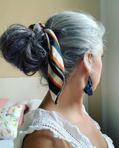 Messy Bun For Natural Gray Hair